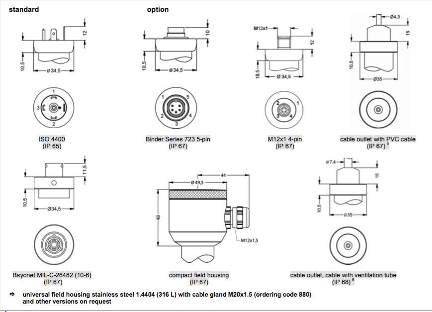 các kiểu kết nối Cảm biến đo áp lực nước DMP 331