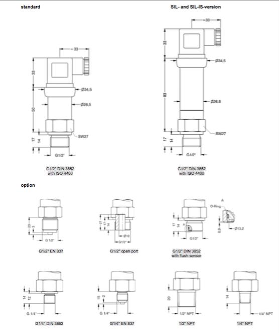 Kiểu kết nối cơ khí cảm biến DMP 331