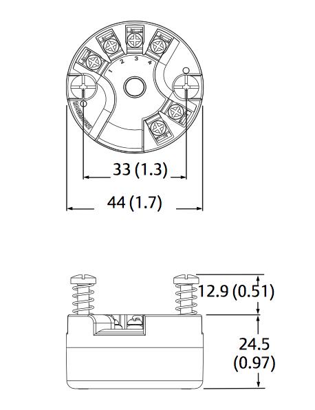 Kích thước bộ chuyển đổi PT100 Emerson Rosemount 248