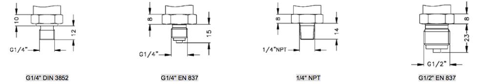 Môt số kiểu kết nối cơ khí Cảm biến đo áp suất