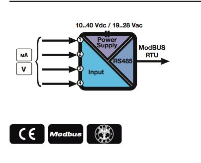 Sơ đồ khối Bộ chuyển đổi tín hiêu 4-20ma sang Modbus RTU