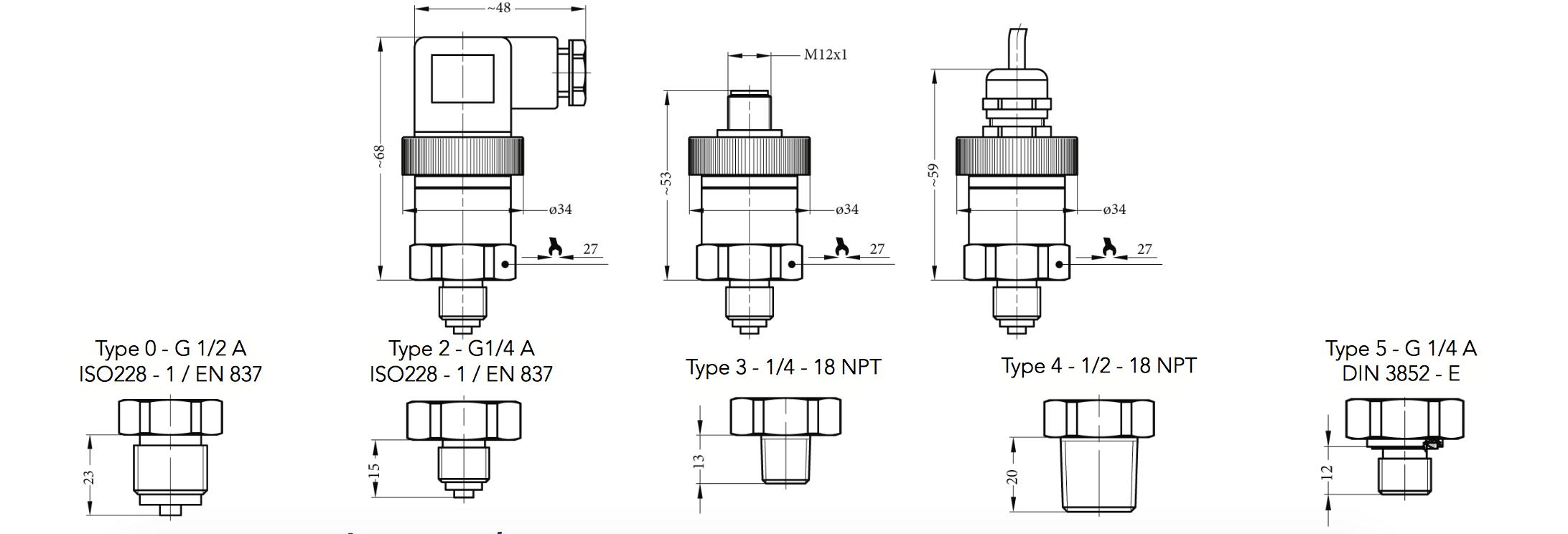 Các thông số kết nối cảm biến áp suất SR2