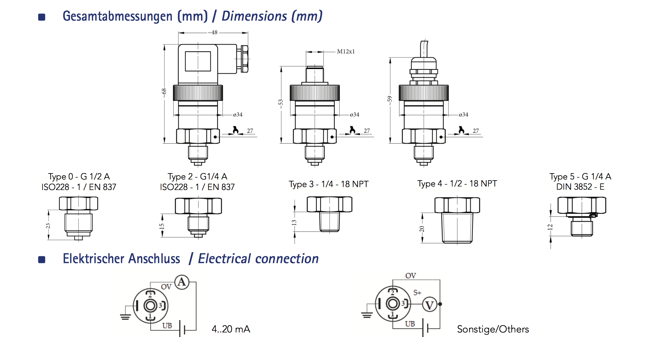Kiểu kết nối của cảm biến áp suất