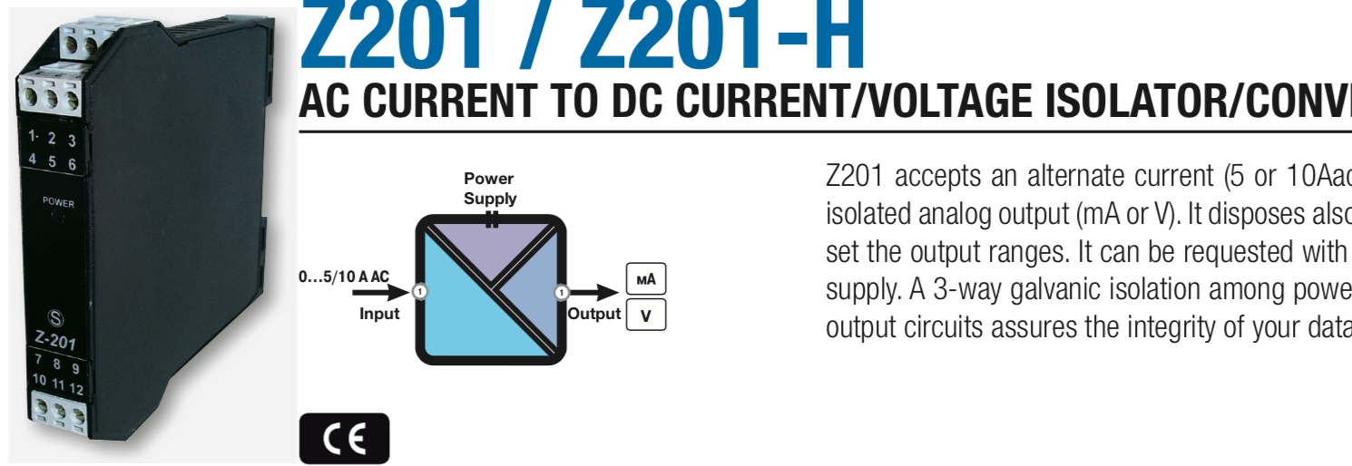 Current Transformer - Bộ Chuyển tín hiệu 0-5A sang 4-20mA Z201-H