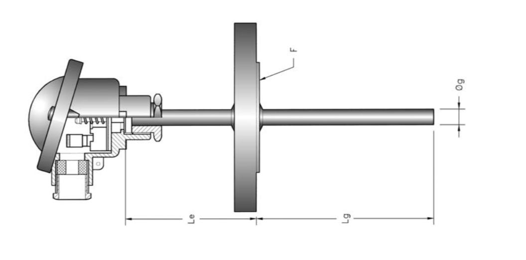 Dòng cảm biến Pt100 kết nối măt bích