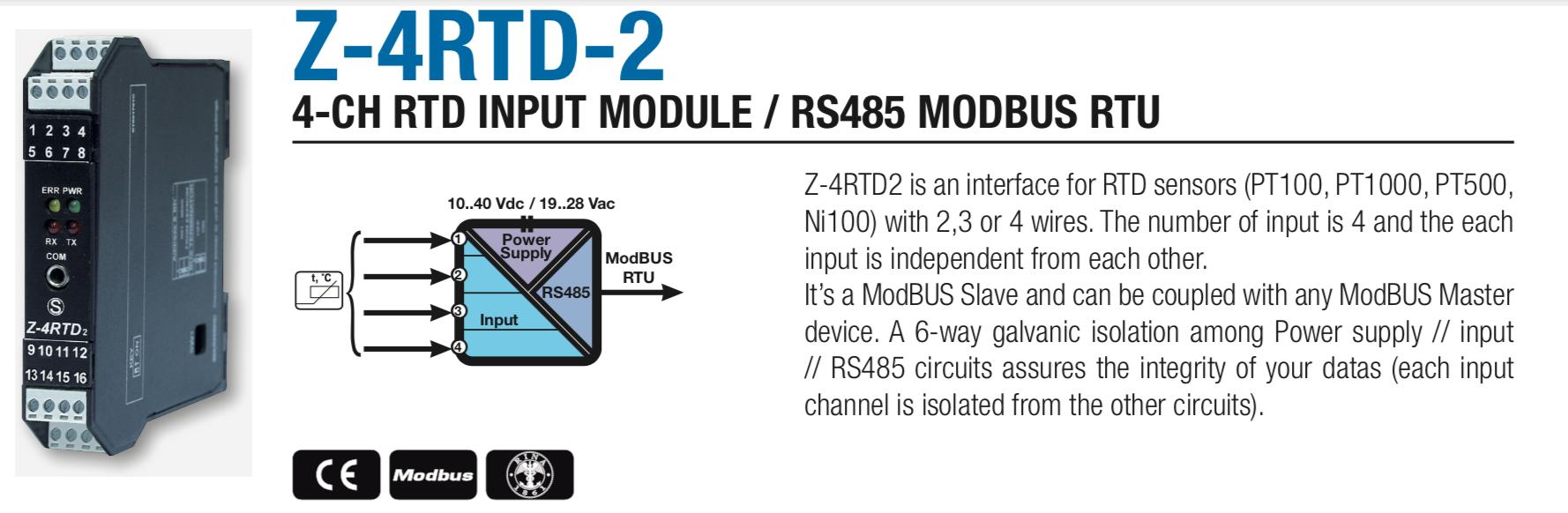 Các Bộ Chuyển Đổi Modbus RTU RS485 Thường Dùng - Dòng Z-4RTD2