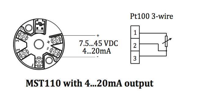 Kết nối giữa PT100 và bộ chuyển đổi MST110