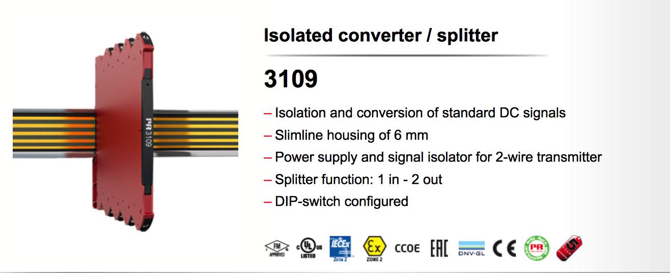Bộ chuyển đổi áp 0-10vdc sang dòng 4-20mA pr3109 của Đan Mạch