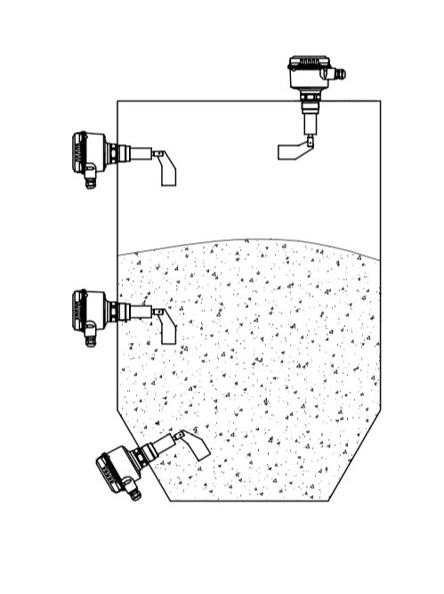 Kiểu lắp thông thường của cảm biến báo mức