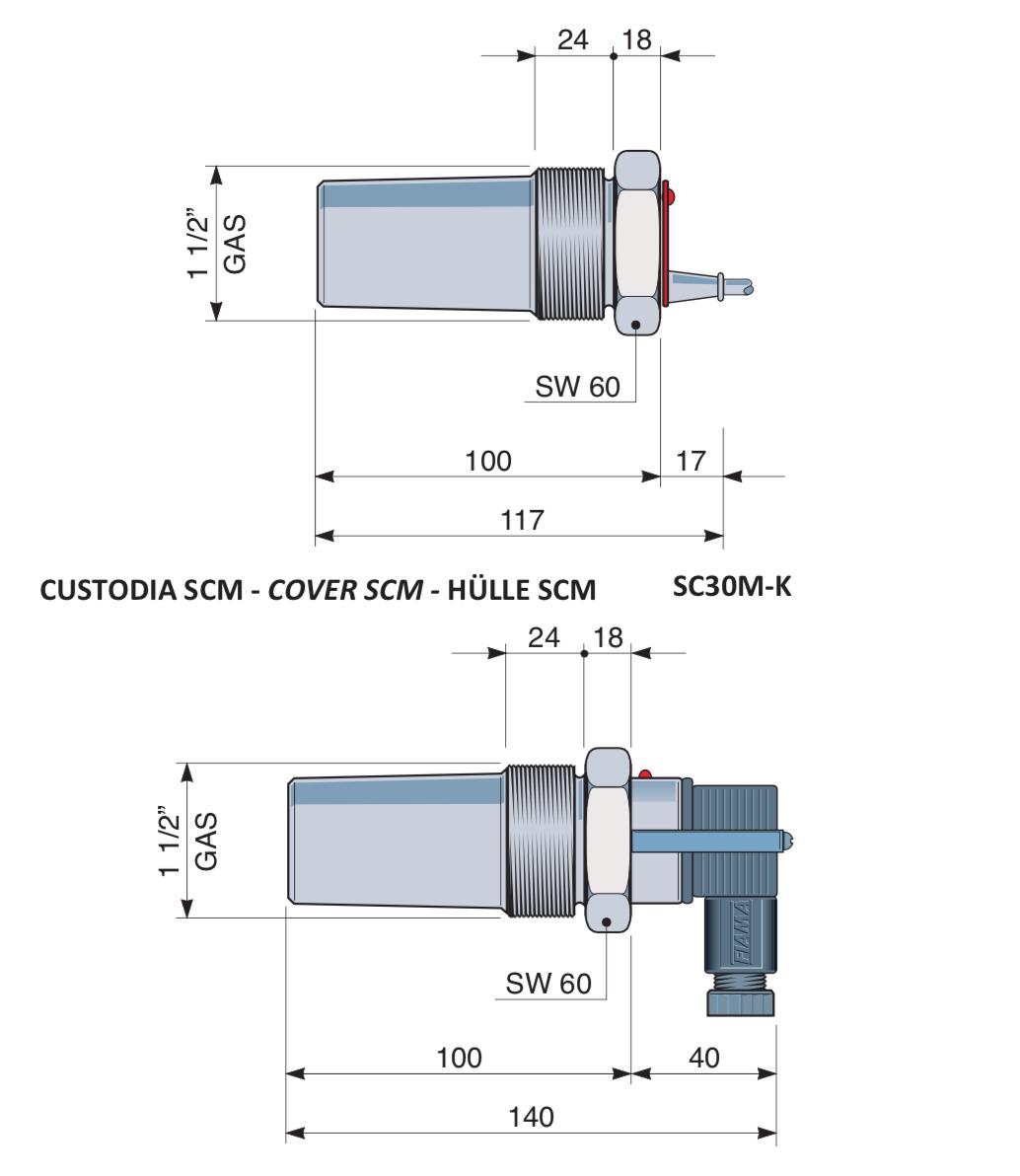 Kích thước cảm biến đo mức SC