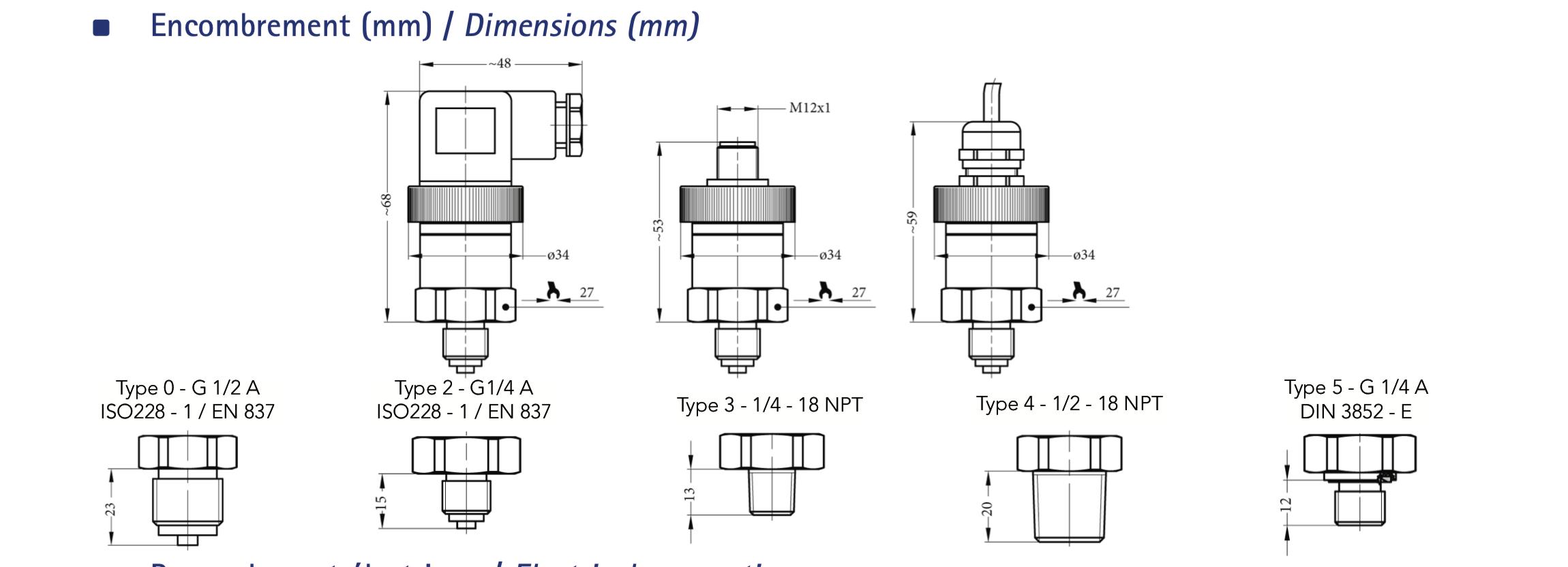 Kiểu nối ren Cảm Biến Đo Áp Suất 0-1Bar - Sr1