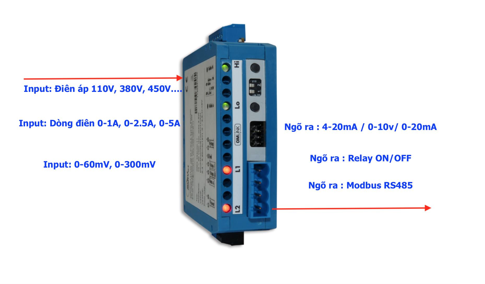 Bộ chuyển điện áp 110V - 230V - 380V sang 4-20mA
