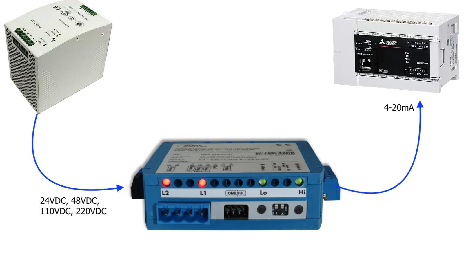 Bộ chuyển tín hiệu 24VDC sang 4-20mA