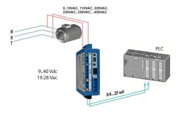 Bộ chuyển điện áp 110V-220V-380V-450V sang 4-20mA
