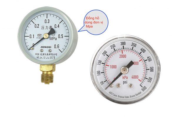 Đồng hồ áp suất với đơn vị Mpa